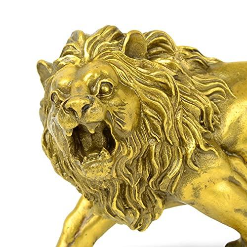 LGYKUMEG Handgefertigte Messing Löwe Statue,Deko Skulptur Löwe, deko Wohnzimmer modern zum hinstellen Statue für Zuhause Büro, kreatives Einweihungsgeschenk,Gold,17 * 7 * 9cm