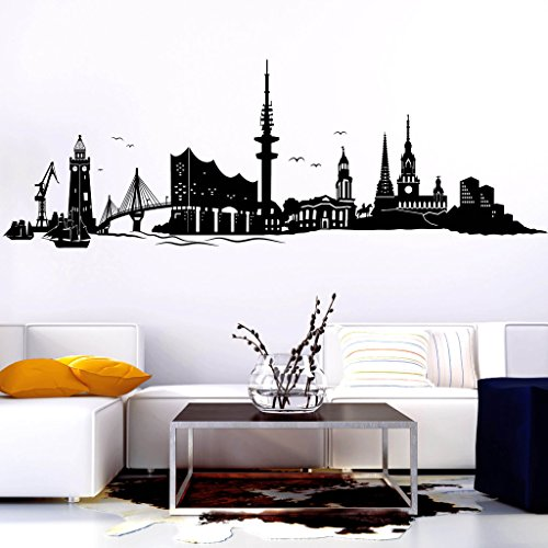 Wandtattoo-Loft Wandtattoo Skyline Hamburg mit Elbphilharmonie Hafenstadt an der Elbe/Wandsticker/Wandaufkleber / 54 Farben / 3 Größen/transparent / 45 cm hoch x 130 cm breit