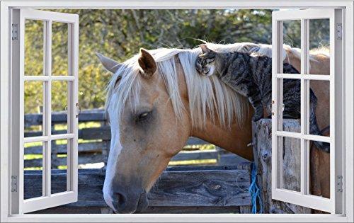 DesFoli Pferd Horse 3D Look Wandtattoo 70 x 115 cm Wanddurchbruch Wandbild Sticker Aufkleber F468