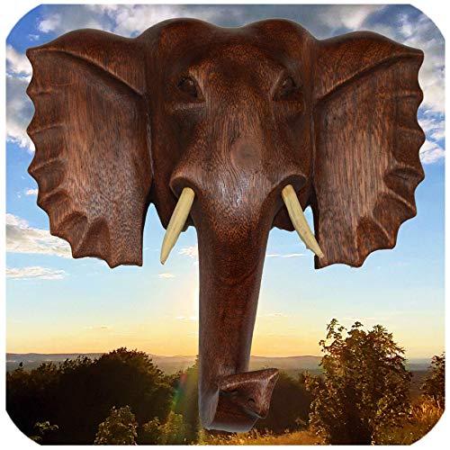 Simandra Elefant Holzmaske Wandbehang Maske Wand Wandmaske Holz Afrika Asia Glücksbringer Deko Handarbeit Größe Mittel