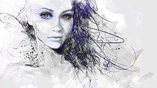 Picma nachleuchtend Leinwandbild abstraktes Bild Portrait Mädchen Gesicht Wohnzimmerdeko Wandbild Frau fluoreszierend