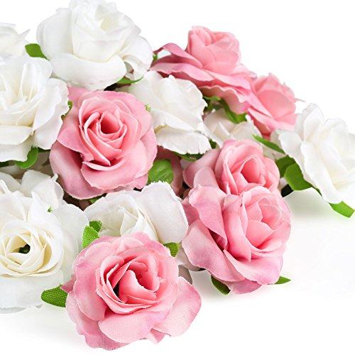 Kesote 50 Stück Künstliche Blumenköpfe Blütenköpfe Kunst Blumen Rosen Köpfe für Hochzeit Party Deko DIY (Ø 4cm, Weiß und Rosa)