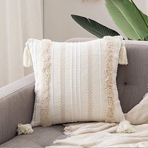 MIULEE 1 Stück Dekorative Kissenbezug Polyster Dekokissen Boho Super Weich Kissenbezüge Quaste Decor Kissenhülle für Sofa Couch Schlafzimmer Wohnzimmer 18X18 inch 45x45 cm