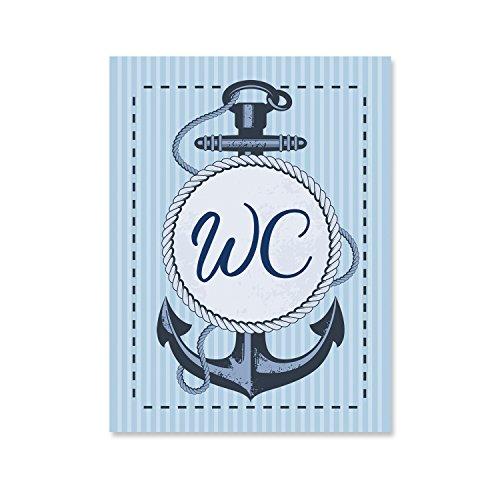 Logbuch-Verlag WC Schild Toilettenschild Toilette SELBSTKLEBEND Türschild DAMEN und HERREN Anker maritim Deko Schiffsanker Boot blau türkis