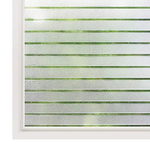 rabbitgoo Fensterfolie Streifen Sichtschutzfolie Selbstklebend Milchglasfolie Sichtschutz gestreifte Folie für Büro Anti-UV 90x200CM
