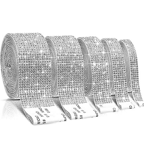 5 Rollen Selbstklebende Kristall Strass Diamant Band DIY Dekoration Aufkleber mit 2 mm Strass 4,5 Yards für Kunst Handwerk, DIY Veranstaltung Auto Telefon Dekoration