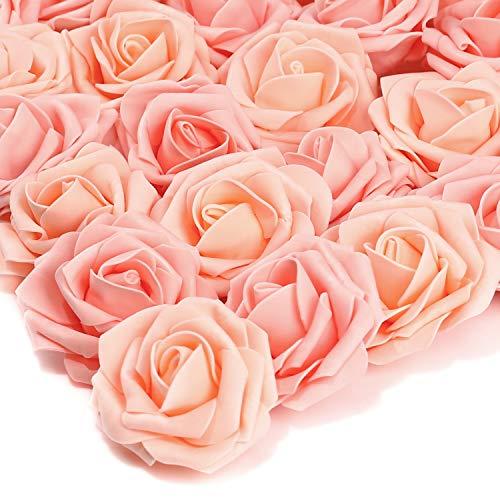 PartyWoo Künstliche Rosen, 25 Stück Kunstblumen, Künstliche Blumen, Deko Blumen, Schaumrosen, Kunstblumen Deko, Kunstblume für Geburtstagsdeko, Hochzeitsdeko, Party Deko (Rosa, Ohne Stängel)