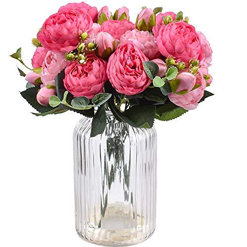XONOR 4 Stücke Künstliche Pfingstrose Seidenblumen Gefälschte Glorious Blumensträuße für Hochzeitsfest-Hochzeitsdekoration, 5 Gabeln, 9 Kopf (Rose Rot & Rosa)