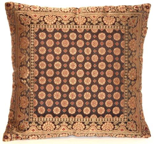 Kashmir Handicrafts Indische Seide Deko Kissenbezüge 40 cm x 40 cm (Schwarz), Extravaganten Design für Sofa & Bett Dekokissen, Kissenhülle aus Indien. ***Angebot nur für Kurze Zeit gültig