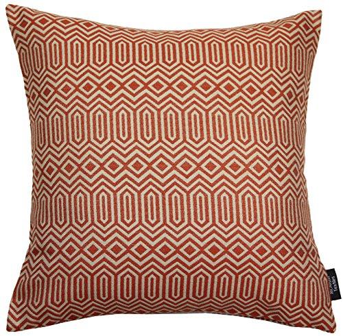 McAlister Textiles Colorado | Kissen mit Füllung in Terracotta Orange | 43 x 43 cm | Gewobenes geometrisches Jaquard Muster | Ethno-Design Deko Kissen gefüllt für Sofa, Couch
