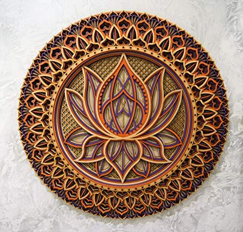 Holz Mandala Wohnung Dekor Elegante Hauswandkunst Farbige Küche Hängende Chakra Spirituelle Yoga Meditation (38 x 38cm, Color 2)