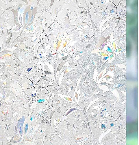 rabbitgoo Fensterfolie Selbsthaftend Blickdicht Sichtschutzfolie Fenster 3D Fensterfolie Glasfolie Dekofolie Statisch Haftend ohne Klebstoff UV Schutz Blumen Tulpe 44.5x200cm für Bad Büro Wohnzimmer
