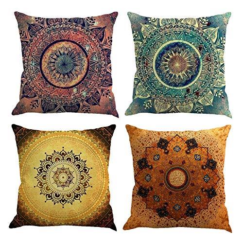 Gspirit 4 Stück Kissenbezug Indische Hippie Böhmischen Mandala Blume Dekorative Kissenhülle Baumwolle Leinen Werfen Sie Kissenbezüge 45x45 cm