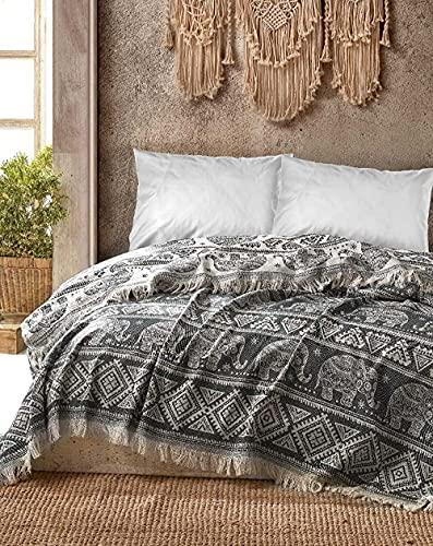 BOHORIA® Premium Tagesdecke Bali - Bettüberwurf Wohndecke Wendedecke Kuscheldecke Sofadecke mit Muster   extra-groß 220 x 240 cm (Elephant)