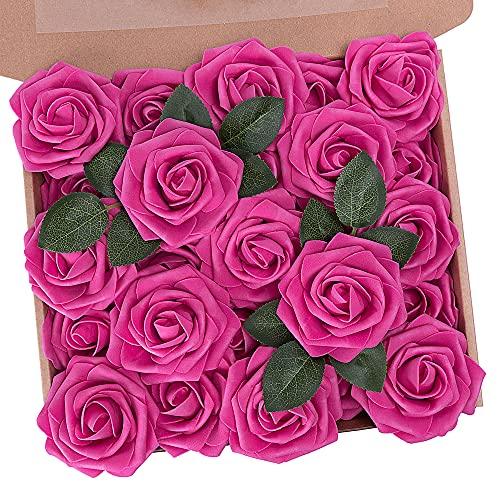 N&T NIETING Künstliche Blumen Rosen, 25 Stück Kunstblumen Gefälschte Rose mit Stielen DIY Hochzeit Blumensträuße Braut Zuhause Dekoration, Hot Pink