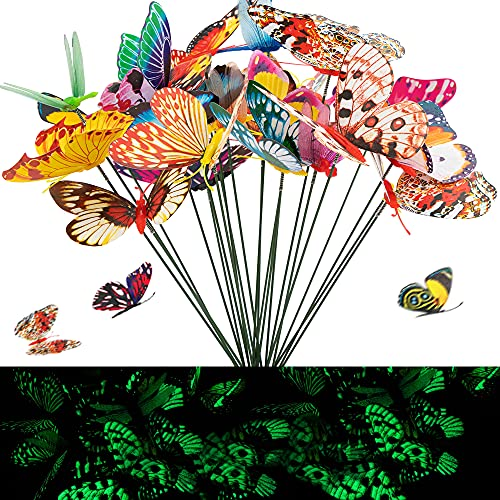 JelyArt Schmetterlinge Deko Set Bunte Schmetterlinge Libellen, Garten Outdoor Deko Patio Ornamente ( 24 Stück, Leuchtend)
