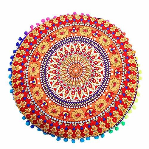 Bodenkissen Meditation Kissen Sitz Abdeckung Handarbeit Indische Abdeckung Mandala Überwurf Rund Bunt Dekorative Böhmisch Akzent Boho Chic Hundebett