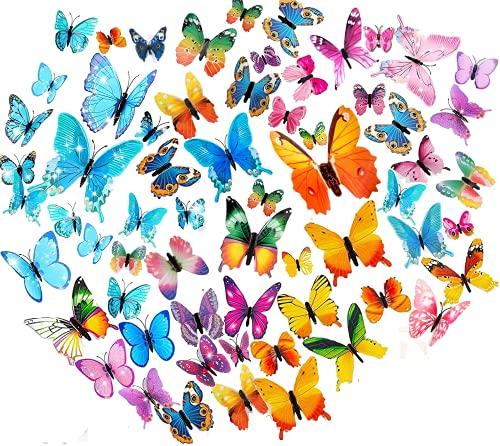 MYBF 84Stk 3D Schmetterlinge deko Wanddeko Schmetterlinge Wandtattoo Wand Dekorationen Fenster Wandkunst für Wohnzimmer Schlafzimmer Kinderzimmer Party Büro Zuhause Dekoration