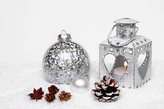 Weihnachts-Deko Silber als Windlicht